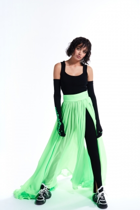 LONG MAXI SKIRT LIME GREEN