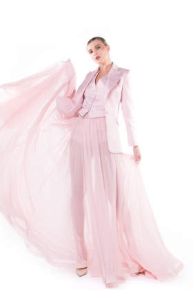 POWDER PINK CHIFFON MAXI SKIRT