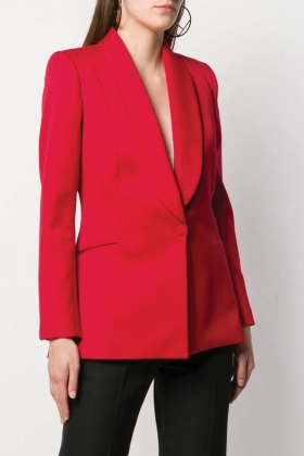 RED SHAWL LAPEL BLAZER