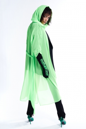 GREEN SEE THROUGH LONG SHIRT DRESS
