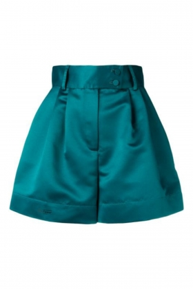 GREEN SATIN SHORTS