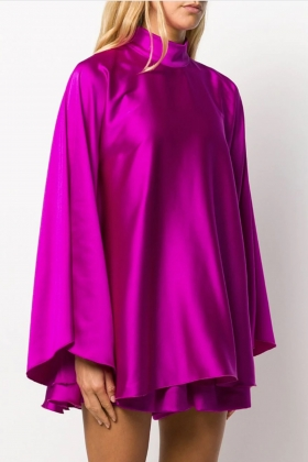 HIGH-NECK DRAPED DRESS