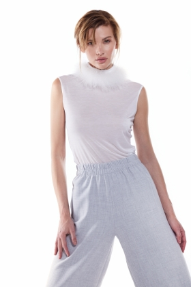 SHEER TURTLENECK TOP WITH DETACHABLE MARABOU FEATHERS