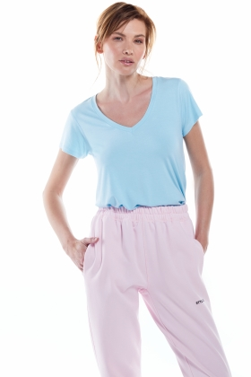 PARAIBA BLUE V-NECK JERSEY T-SHIRT