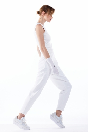 HIGH WAISTED PANTS MADE OF WHITE ORGANIC COTTON