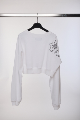 WHITE CROPPED BLOUSE WITH