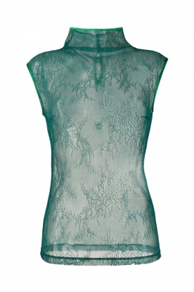 TOP VERDE TRANSPARENT DIN DANTELA