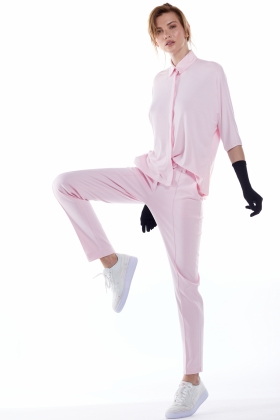 ORGANIC COTTON PINK TAILORED TROUSERS