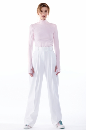 WHITE ORGANIC COTTON WIDE LEG TROUSERS