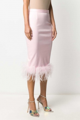 FEATHER TRIM MIDI SKIRT