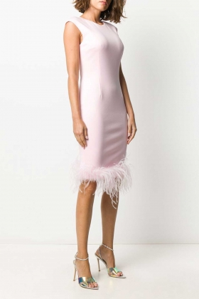 FEATHER TRIM SHIFT DRESS