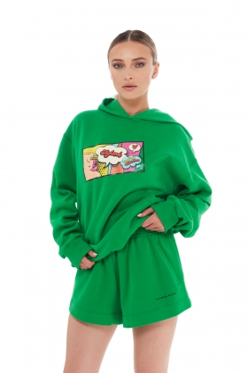 GREEN HOODIE ORGANIC COTTON WITH PRINT