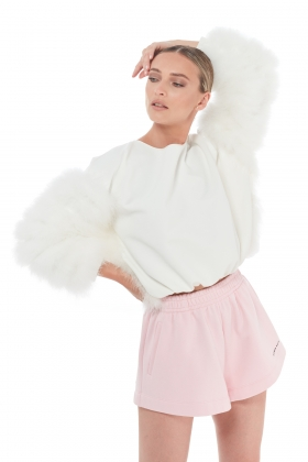 FEATHER-TRIM DETAIL SWEATER