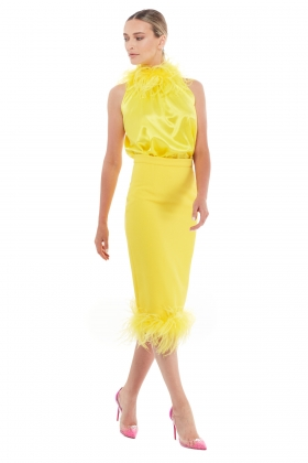 FEATHER TRIM YELLOW SKIRT