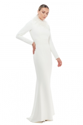 FEATHER-TRIMMED FLOOR-LENGHT GOWN