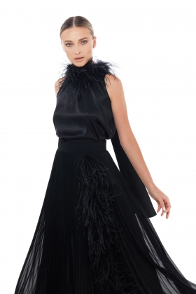 OSTRICH FEATHER EMBELISHED SILK TOP