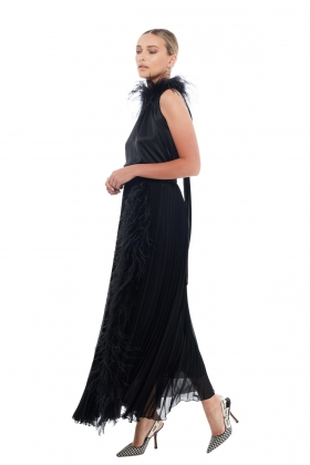 FEATHER-TRIM PLEATED MAXI SKIRT