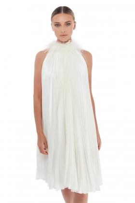FEATHER-TRIM PLEATED DRESS