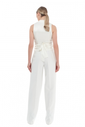 WIDE LEG WHITE TAILORED PANTS