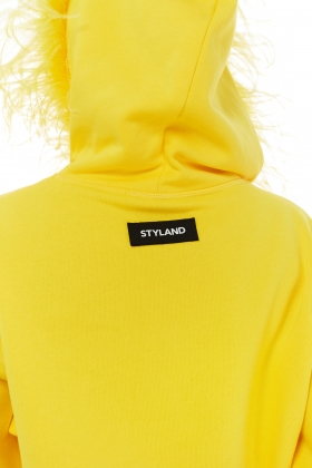 ORGANIC COTTON HOODIE WITH OSTRICH EMBELISHMENT