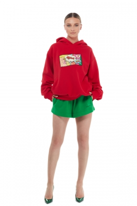 RED HOODIE ORGANIC COTTON WITH PRINT